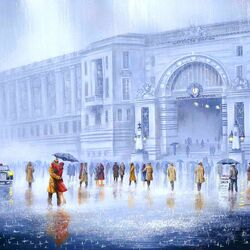 Пазл онлайн: Закат над вокзалом Ватерлоо