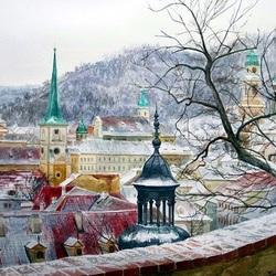 Пазл онлайн: Крыши зимней Праги