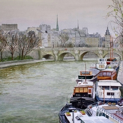 Пазл онлайн: Баржи на Сене