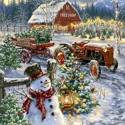 Пазл онлайн: Продажа рождественских деревьев