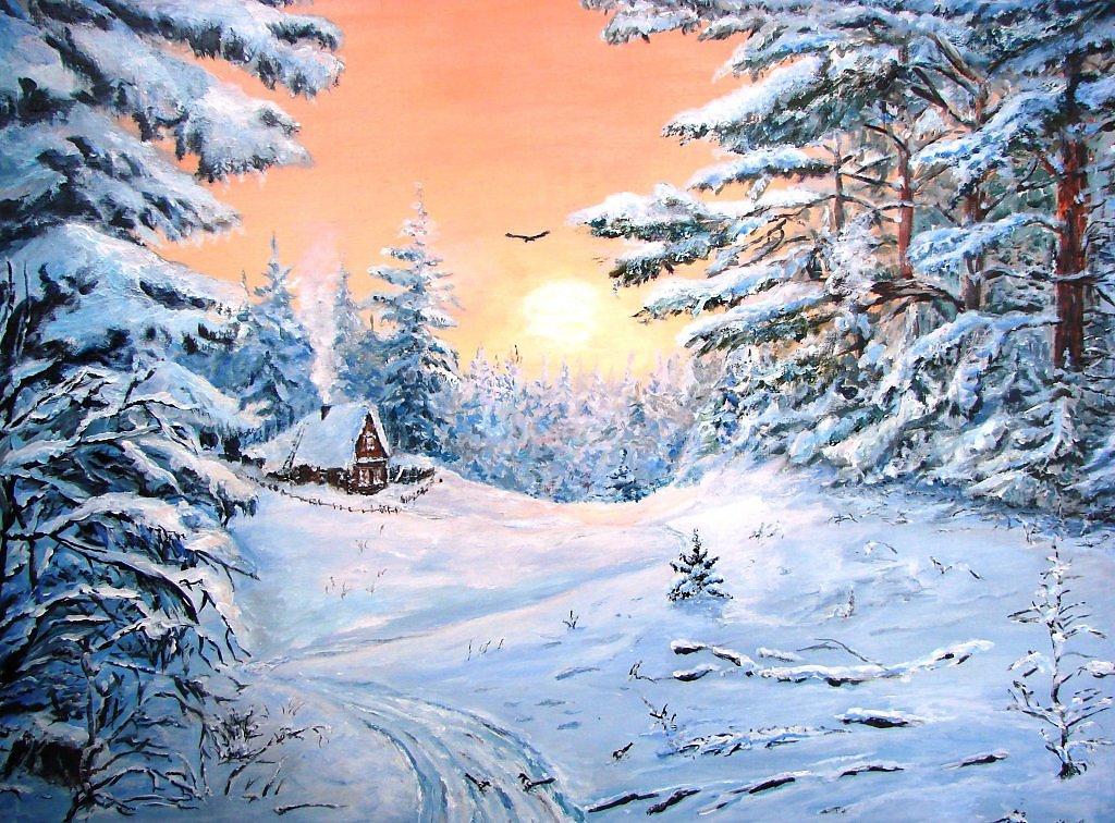 картинка снежного леса срисовать оформленность