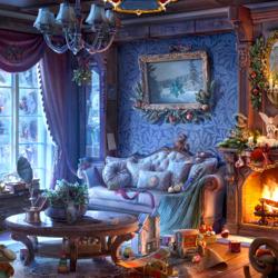 Пазл онлайн: Праздничная гостинная