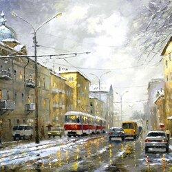 Пазл онлайн: Зимняя улица