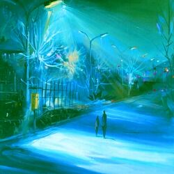 Пазл онлайн: Ночная прогулка