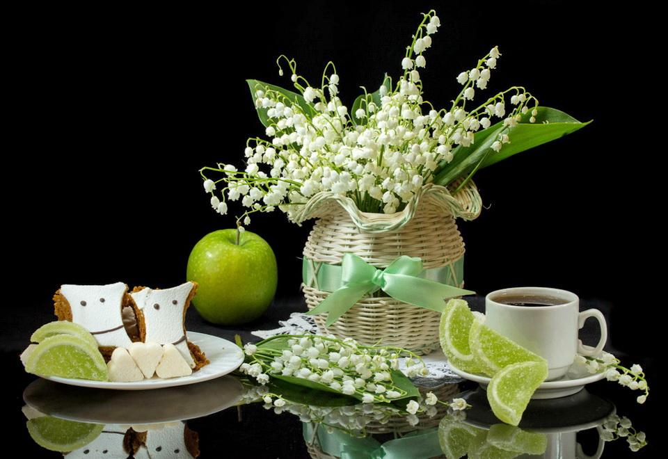 Картинка чашка чая и ландыши в вазе анимация, днем нефтяника рисунок