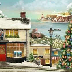 Пазл онлайн: Рождество в рыбацком поселке