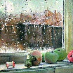 Пазл онлайн: Яблоки лежали на окошке