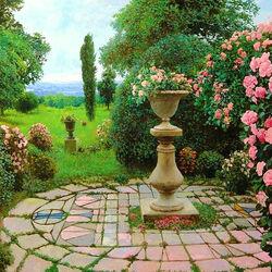 Пазл онлайн: Розовые кусты