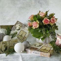 Пазл онлайн: Новогодний с розами