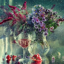 Пазл онлайн: Цветы омытые дождем