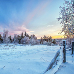 Пазл онлайн: Зимняя дорога