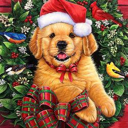 Пазл онлайн: Рождественский щенок