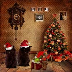 Пазл онлайн: Новогодние котики