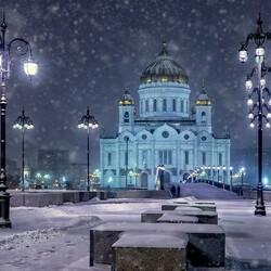 Пазл онлайн: Снегопад в Москве