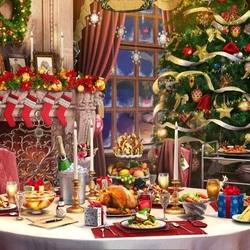 Пазл онлайн: Праздничный ужин