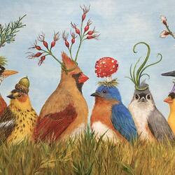 Пазл онлайн: Птички и шляпки