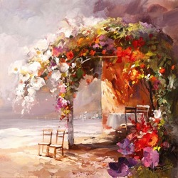 Пазл онлайн: Цветочная арка