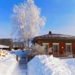 Пазл онлайн: Сибирское село
