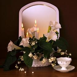 Пазл онлайн: Натюрморт со свечами