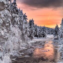 Пазл онлайн: Зимняя речка