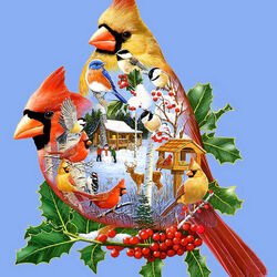Пазл онлайн: Лесные кардиналы