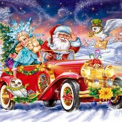 Пазл онлайн: Дед Мороз спешит в гости