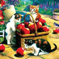 Пазл онлайн: Котята и яблоки