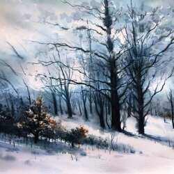 Пазл онлайн: Снежный лес