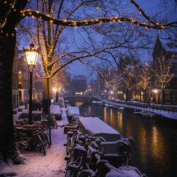 Пазл онлайн: Зимний Амстердам