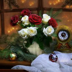 Пазл онлайн: Новый год и розы