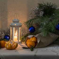 Пазл онлайн: Мандарины к празднику