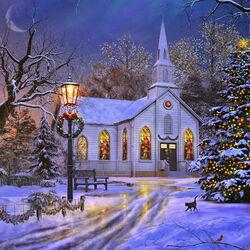 Пазл онлайн: Старая церковь в Рождество