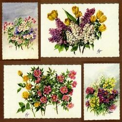 Пазл онлайн: Цветочные акварели