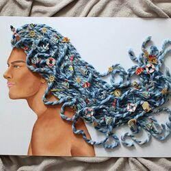 Пазл онлайн: Сделано из синей пряжи