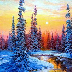 Пазл онлайн: Зимний вечер у реки