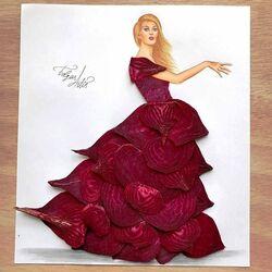 Пазл онлайн: Платье из свеклы