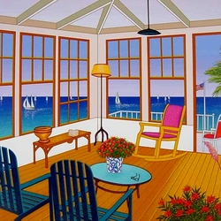 Пазл онлайн: Комната с видом на море