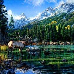 Пазл онлайн: У горного озера