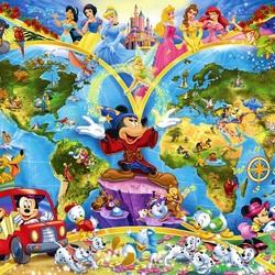 Пазл онлайн: Карта сказочного мира Диснея