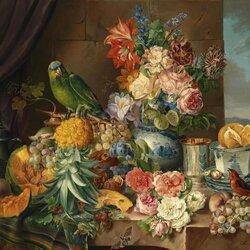 Пазл онлайн: Фрукты, цветы и попугай