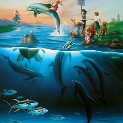 Пазл онлайн: Наездники дельфинов