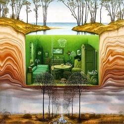 Пазл онлайн: Зеленая комната
