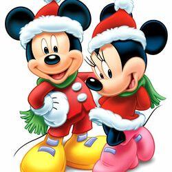 Пазл онлайн: Рождественские праздники Микки и Минни