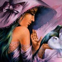 Пазл онлайн: Девушка с голубями