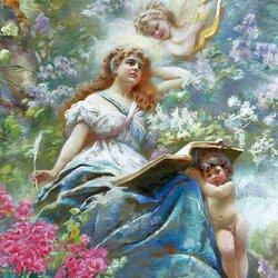 Пазл онлайн:  Ангелы и муза поэзии