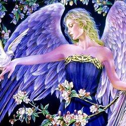 Пазл онлайн: Ангел с голубем