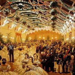 Пазл онлайн: Бал в честь Александра II  в Гельсингфорсе в сентябре 1863 года в здании вокзала