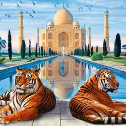 Пазл онлайн: Тадж-Махал и тигры