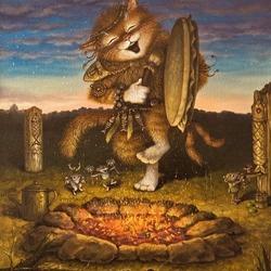 Пазл онлайн: Кот-шаман