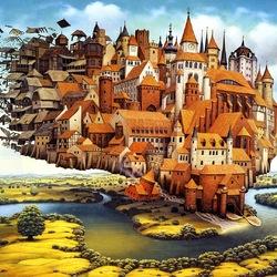 Пазл онлайн: Cities flying town / Летающий город
